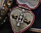 Antique Diamond Ring, Antique Engagement Ring, Edwardian Diamond Ring, Pearl Engagement Ring, April Birthstone Ring, Rose Cut Diamond Ring.