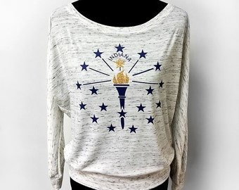Indiana Bicentennial Shirt, Off Shoulder Ladies' Tee, Indiana Torch Relay, Indiana State Flag shirt , Ladies' Marbled Long Sleeve Tee