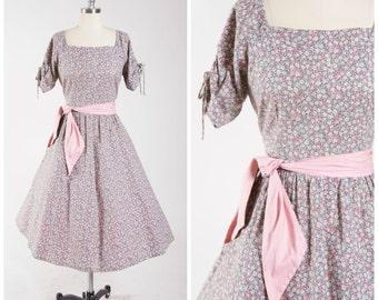 1950s Vintage Dress • Lavender Fields • Floral Cotton Print 50s Vintage Day Dress Full Skirt with Sash Belt Size Large