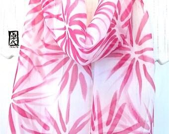 Silk Scarf Handpainted, Birthday Gift, Valentines Day Gift, Raspberry Pink Hanabi Floral Scarf, Silk Chiffon Scarf, 11x60 inches