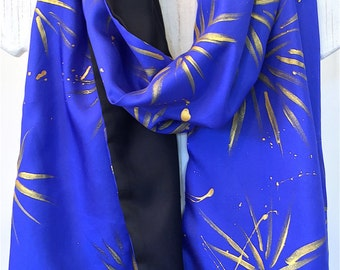 Reversible Silk Scarf Handpainted, Ultramarine Blue and Gold Scarf, Black Silk Scarf, Blue Celestial Princess Scarf, Gift for her, 14x72 in.