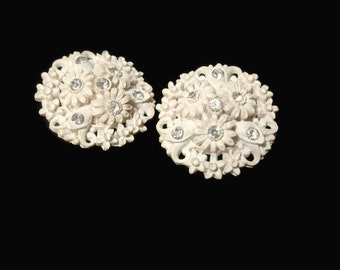 Vintage 1950s Earrings Flower Bouquet Early Plastic With Rhinestones Clip On