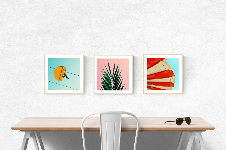 art prints mid century modern beach art palm tree wall. Black Bedroom Furniture Sets. Home Design Ideas