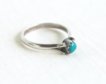 Turquoise Solitaire Ring Sterling Silver Size 7 Vintage Southwestern Jewelry Stackable Stacking Ring