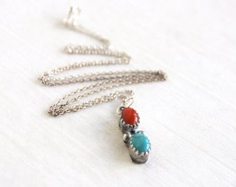 Turquoise Red Coral Necklace Vintage Southwestern Trading Post Boho Jewelry 18 Inch Chain