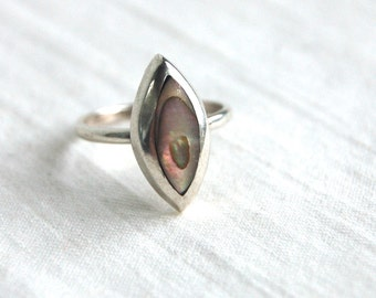 Abalone Ring Mexican Sterling Silver Size 6 .75 Ocean Marquise Daimond Vintage Statement Ring