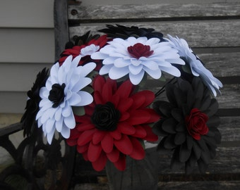 Gerber Daisy Paper Flower Bouquet. Black, Red, & White. Centerpiece, Wedding, Anniversary, Birthday, Mother's Day, Gift