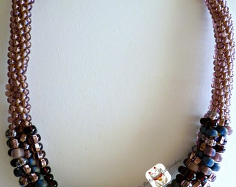 Cool lilac colored beaded Kumihimo cluster necklace, chunky necklace, statement necklace