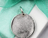Fingerprint Jewelry, Thumbprint Jewelry, Silver Fingerprint Necklace, Fingerprint Necklace, Keepsake Fingerprint Charm, Fingerprint