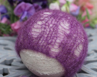 Lace Holes Pattern Mohair Bonnet with Ties. Purple Wine Girl Photography Prop. Ready to Ship