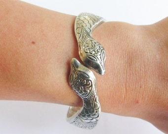 Vintage Silver Snake Clamper Bracelet With Detail Etched Design Signed S