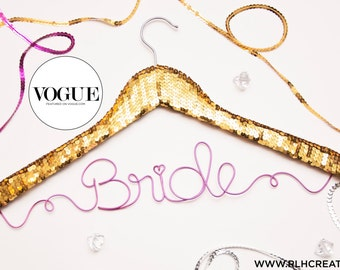 Sequin Wedding Hanger / Personalized Name Hanger / Gold Hanger / Bride Hanger / Wire Hanger / Name Hanger / 3 Hanger Colors / 12 Wire Colors
