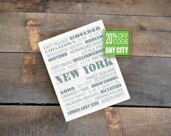 NEW YORK CITY Print - Personalized Gift - Wood Block Wall Art Print 8x10 - Art Print - Wall Hanging - Hometown - Chicago - Boston - Miami