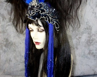 SPRING SALE: Bohemian Twilight Fairy, Black, Full Wig, w Beaded Headpiece Costume Renaissance BOHO Gypsy Halloween