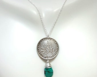 France coin necklace. Turquoise necklace. Antique French silver coin. olive branch. Liberty with sun. art nouveau. old french. Turquoise