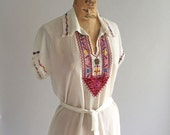 RESERVED // Vintage 1940s Palestinian Hand Embroidered Peasant Blouse