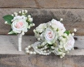 Wedding Corsage, Prom Corsage & Boutonniere Set, Peach Rose, Blush Rose, Baby Breath, Pearl Corsage Wristlet, Silk Flowers.