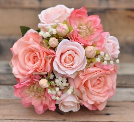 Wedding Flower Bouquet Hd Pics: Peach Rose Wedding Bouquet Silk Flower Bouquet Made With