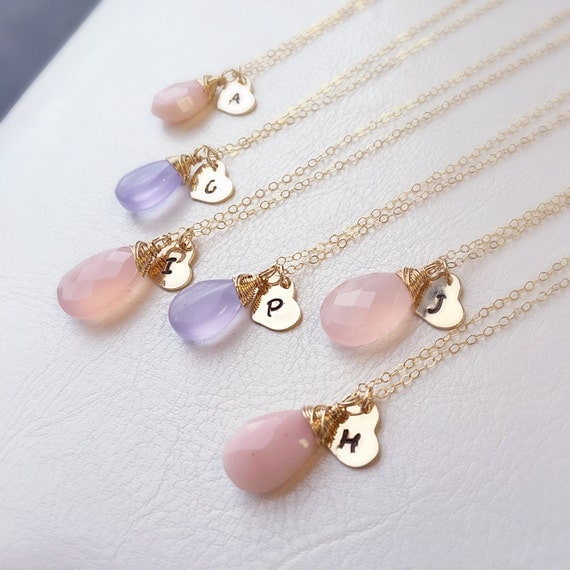 set of  FIVE Gold initial Necklaces, custom colors, Personalized Bridesmaid Gifts, Wedding jewelry, bridal necklaces, bridesmaid necklaces