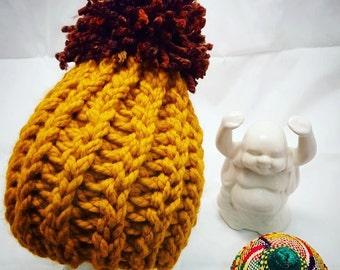 Womens Chunky Pom Pom Hat Beanie, Women's Winter Hat, Chunky Winter Hat, Winter Accessory, Yellow Pompom Hat, Women Men Hat, Knit Winter Hat