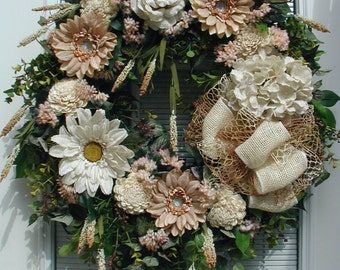 All Year Wreath Large Fireplace Front Door Floral Decor Burlap Flowers Cream Dusty Rose Brown Elegant Grapevine Custom Hanging Decoration
