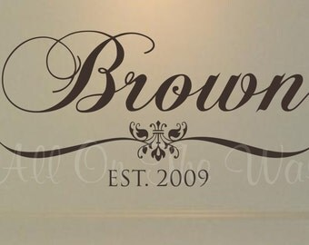 Family Last Name Wall Decal Established Date Personalized Decals Home Wall Decal Family Name Decal Wedding Decals Vinyl Lettering Name Decal