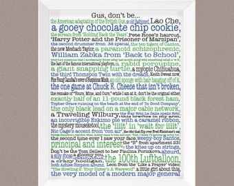 "Psych; Psych Poster; Psych TV show; instant download; Complete list of the ""Gus, don't be a"" phrases from TV show Psych; Psych fan gift"