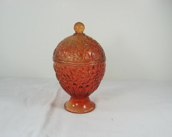 Vintage RED HOBBLE EGG Glass Trinket Box Candy Dish Candle Holder Easter
