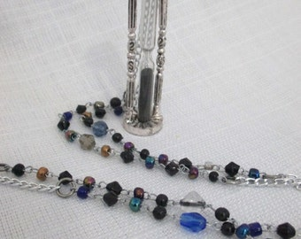 While Away the Hours  Working Miniature Hourglass Charm on Long Beaded Necklace