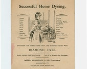 Antique Home Crafts Advertising Booklet for Diamond Dyes, Instructions for Dying circa 1899, Wells, Richardson Company, Burlington Vermont