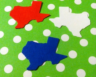 12 STATE of TEXAS Red, white and blue 1.4 inch confetti  hand punched, paper punch,craft projects, gift tags