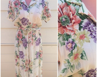 Beige floral 80's collar button front classic day dress with belt size medium