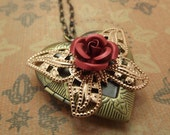 Valentines Jewelry/Rose on Butterfly Large Heart Locket Necklace 18 inches/Valentines Day
