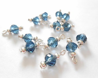 Denim Color Faceted Rondelle Dangle Beads