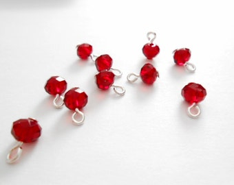 Dark Red Faceted Rondelle Dangle Beads