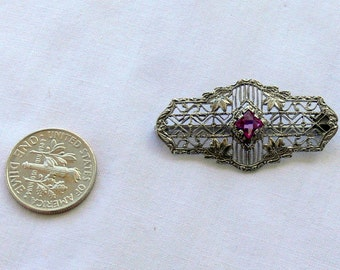 Antique Victorian Amethyst Sterling Silver Brooch