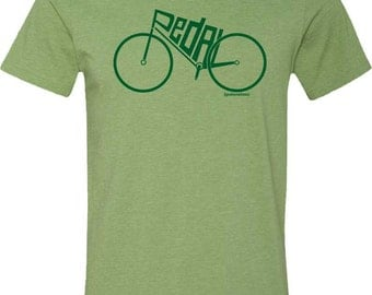Bicycle T-shirt-PEDAL-Modern Road Bike T-Shirt-Green, Road Bicycle t-Shirt, Cycling t shirt, bike gift, gifts for cyclists,Bike tee