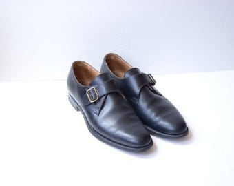 Vintage Peal & Co Brooks Brothers Black Leather Oxford Shoes, Made in England, Mens 9 / ITEM284