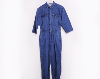 Vintage Denim Overall Jumpsuit with Power logo made in Hong Kong, size Medium
