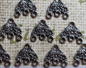 12 pcs per pack 15x16mm Reversible Chandelier solids Flower Earring Component Antique Silver Finish Lead free Pewter