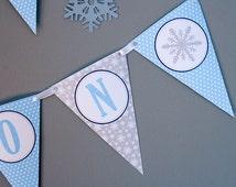 Winter Onederland Birthday Banner - Boy Birthday - Winter Wonderland Birthday Decorations - DIY Printable
