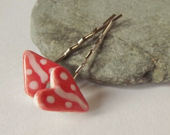 Ceramic Pottery Heart Hair Grip Set, Hair Clip Set, Bobby Pin Set, Set of Two, Waves and Dots, Contemporary, White Red, Valentine's Day