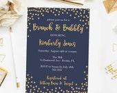 Brunch and Bubbly Bridal Shower Invitation, Printable Gold Glitter Confetti Navy Bridal Shower Invite Navy Bridal Shower Invitation JPD361