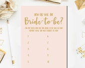 How Old Was the Bride To Be Game Printable, Blush and Gold Bridal Shower Games Guess the Bride's Age Printable Instant Download BR17