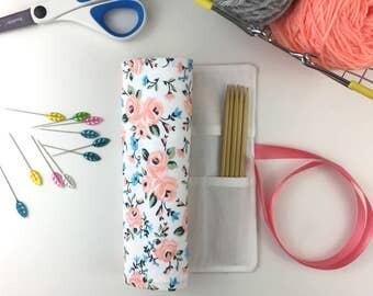 Craft Storage, Knitting Needle Organizer, Needle Storage, Crochet Hook Case, DPN Holder, Knitting Case, White Floral Cotton