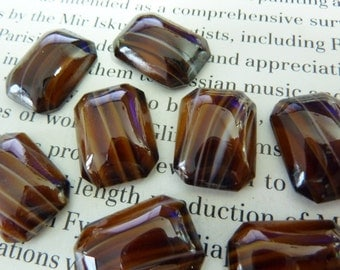 4 glass cabochons, 18x13mm, brown, white, octagon