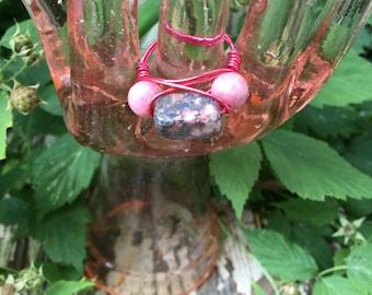 Rockin Pink, Rhodonite, Leopardskin Jasper, Genuine Gemstone, Pink Colored, Silver Plated, Copper Wire, Wrapped Ring