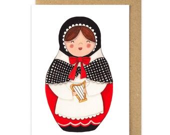Welsh Lady Card. Welsh Costume. Welsh Babushka Matryoshka Doll. Wales Cymru Dydd Gwyl Dewi Sant St Davids Day Card. Myfanwy. Stacking Dolls