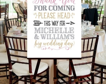Wedding Welcome Sign, PRINTABLE FILE, Blush Pink, Gold, Ballet, Hand Drawn, Calligraphy, Script