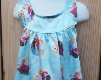 NEW Frozen Sisters Satin Nightgown,Pastel Blue Satin Nightie,Girls Pajamas,Gift For Her,Disney Princess,Toddler to Teen,Long Nightgown